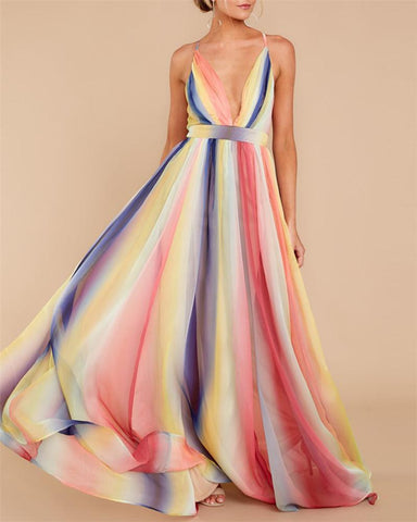 Sexy Women's Deep V-Neck Open Back Chiffon Maxi Dress