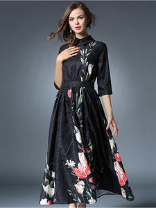 Vintage Lapel Half Sleeve Floral Print Maxi Dress