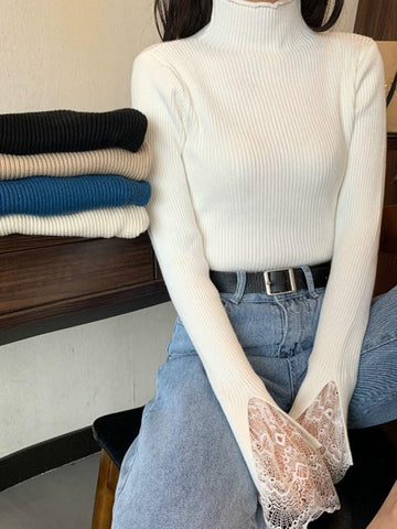 Flare Sleeve Lace Regular Long Sleeve Stand Collar Sweater