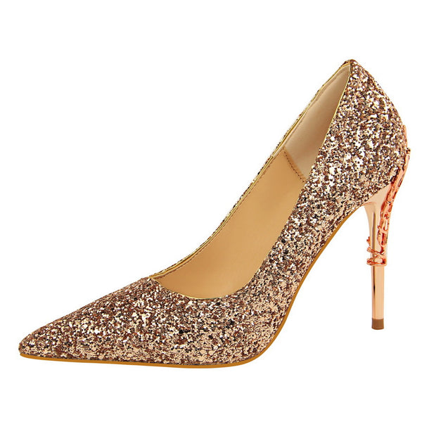 Metal Heel Shoes Women Elegant Sequined Pointed Toe Thin High Pumps
