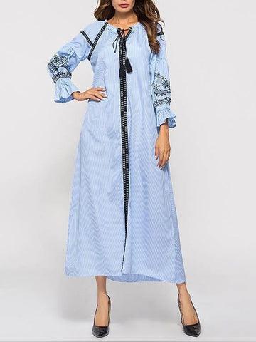 Embroidered Tassel Stripes Stitching Maxi Shift Dress