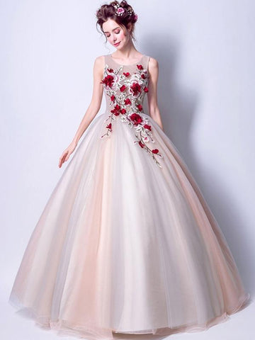 Embroidery Flowers Contrast Sashes Wedding Dresses