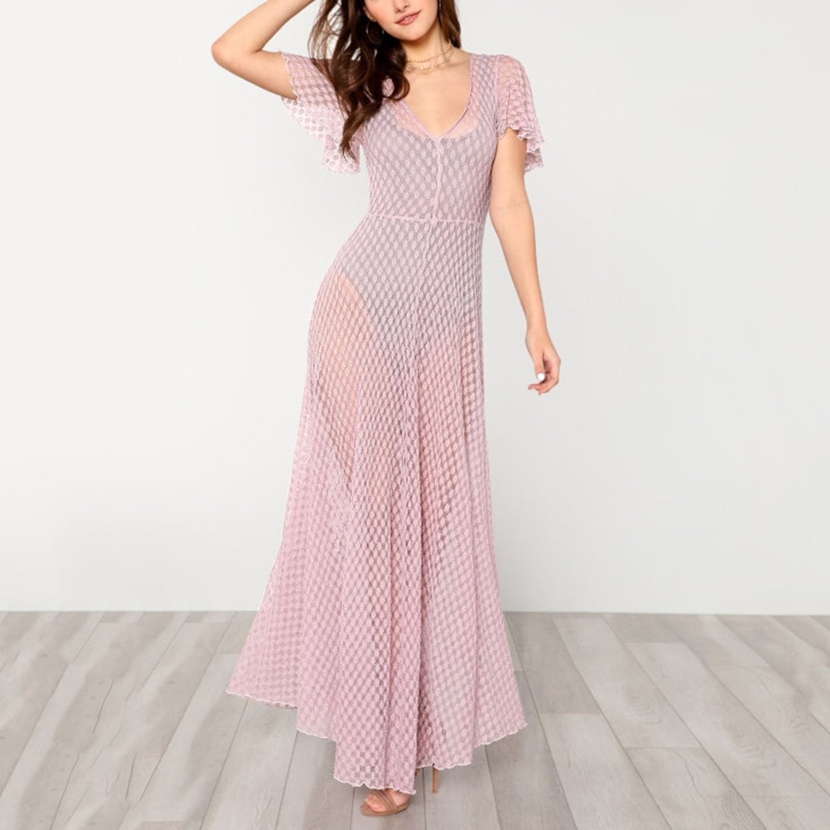 Sexy Pink Short Sleeves Maxi Dress