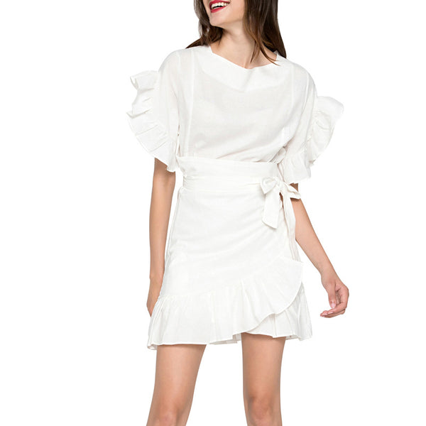 Women Summer Solid Color Cotton Dress Ruffles Patchwork Short Sleeve Slim Dress with Bow Belt