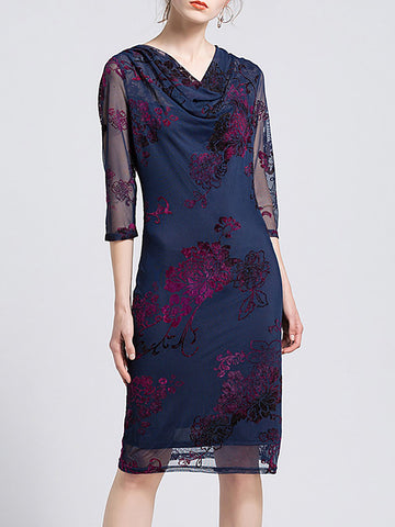 Cowl Neck Work Sheath Daily Floral Printed Midi Dress