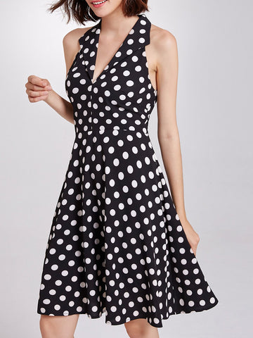 Lapel Sleeveless A-Line Daily Printed Polka Dots Midi Dress
