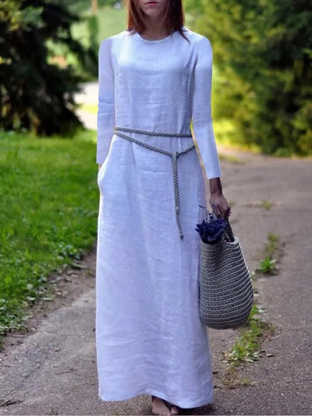 Elegant Pure Color Long Sleeve Linen Shift Dress