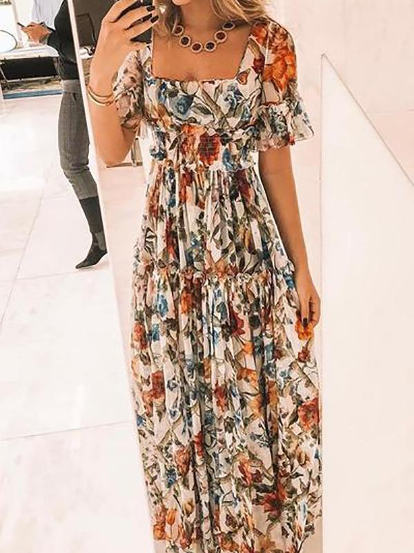Sexy Short Sleeves Floral Print Off Shoulder Maxi Dress