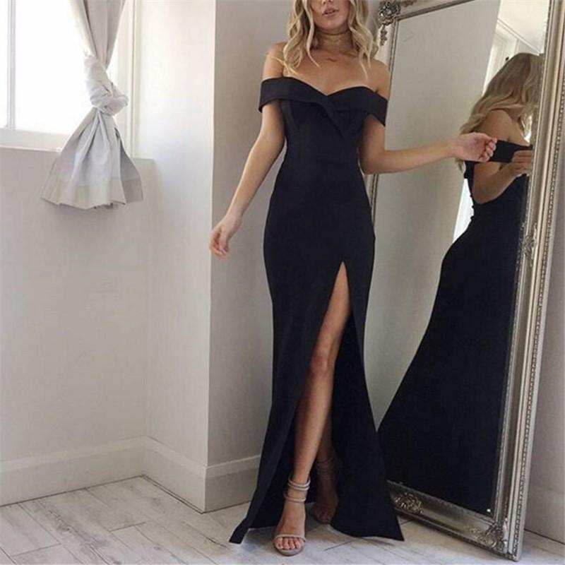 Casual Sexy strapless   split Pure Color Evening Maxi dress
