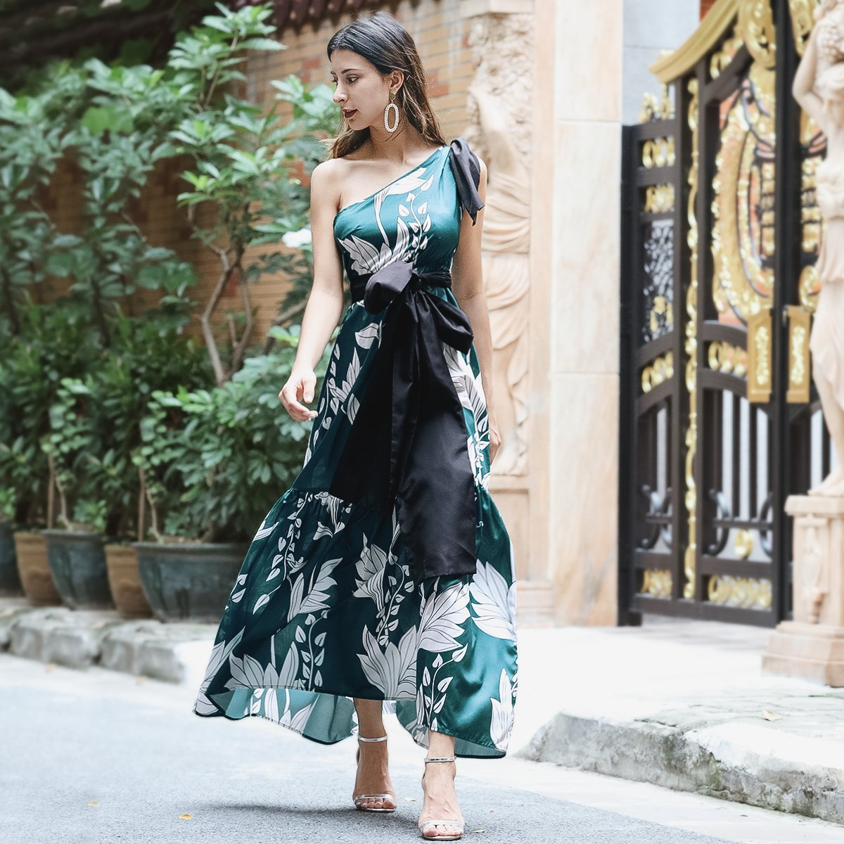 Sexy One-Shoulder Print Stitching Maxi Dress