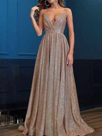 Floor-Length V-Neck Sleeveless Fall Mid Waist Dress