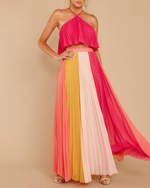 Hanging Neck Rainbow Striped Pleated Dress