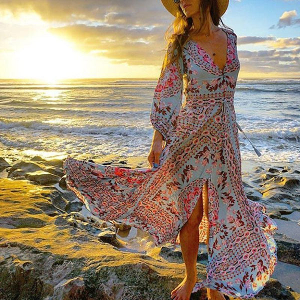 Fashion Ethnic Style V Collar Elastic Waist Long Sleeves Floral Printed Maxi Dress
