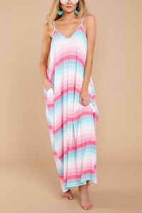 Sexy Pockets Sleeveless Beach Vacation Maxi Dress