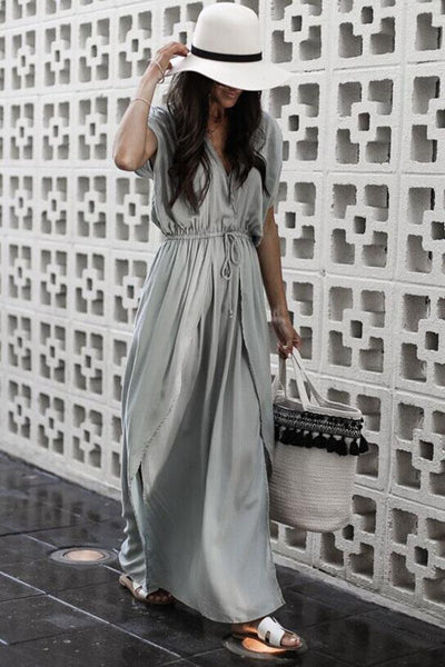 Fashion Gray Short Sleeves Maxi Dress