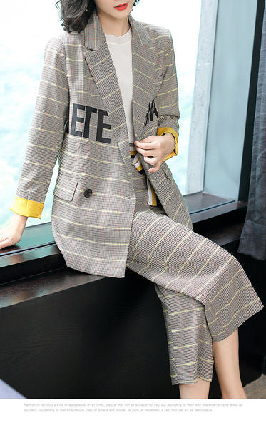Fashion Women Suit Set Khaki Yellow Plaid Blazer And Pant Suit Casual 2 Pieces Sets