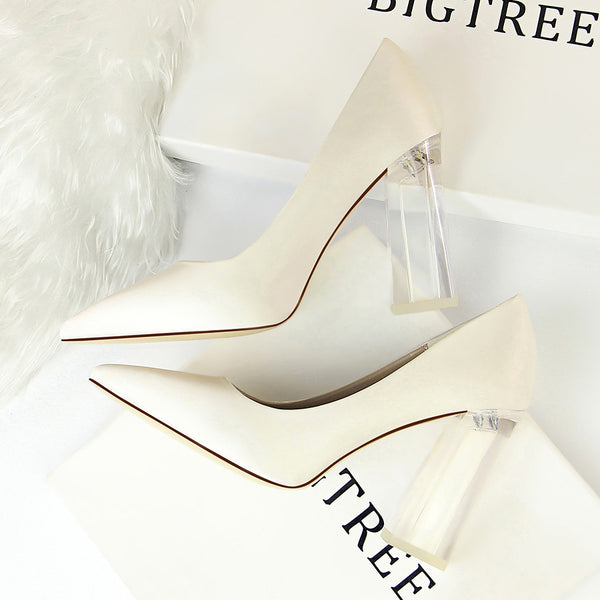 Transparent Crystal High Heel Satin Shallow Mouth Pointed Sexy High Heel Wedding Shoes