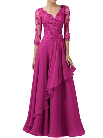 Modewish Women's Stunning V-Neck 3/4 Sleeve Gown Dress