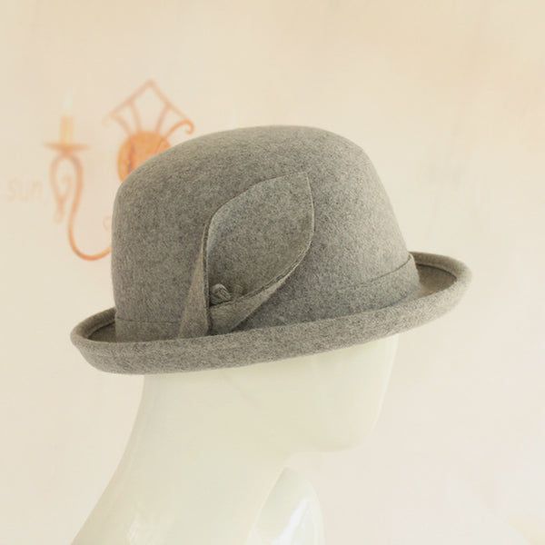 Round Head Curled Woolen Felt Hat Warm Ladies Hat