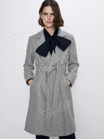 Autumn Winter Thick Long Solid Sashes Casual Women's Outerwear Gray Wool Coat