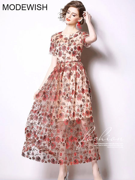 Chiffon Long Sleeve Print flowers Vintage Slim Long Party Dress