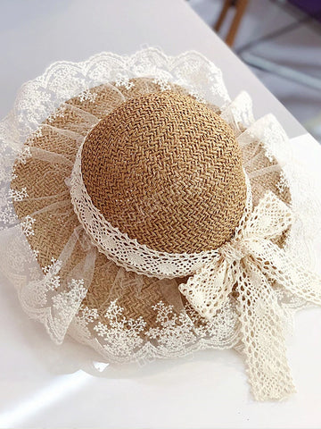 Children's Straw Hat Girls Summer Breathable Lace Bow Beach Sun Hat