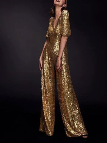 Elegant Temperament Sequined V Collar Jumpsuit