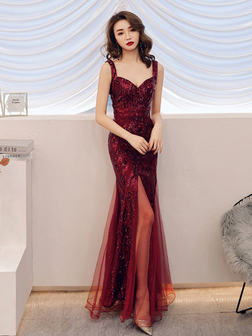 Elegant Backless Long Split Mermaid Sequins Evening Party Dress