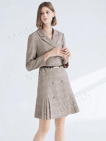 Elegant Double Breasted Ruffle Patchwork Long-sleeved Dress