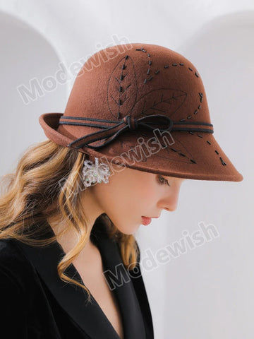 Embroidery Handmade Beaded Curled Woolen Hat Ladies Felt Hat