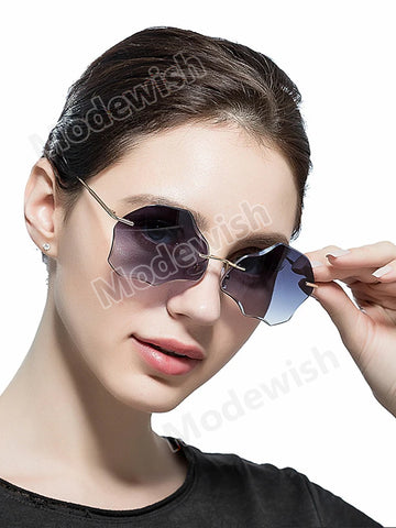 Fashion Cystal Cutting Flower Shape Genuine Sunglass Women