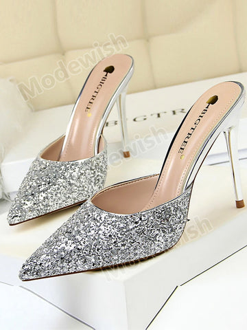 Fashion Sequins Stiletto High-heeled Shallow Mouth Sandals and Slippers