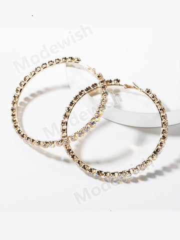 Geometric Big Hoop Earrings Women Rhinestone Vintage Statement Earrings