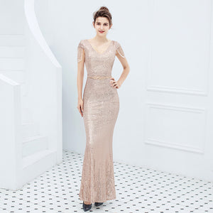 Sexy V Neck Prom Gown Celebrity Wedding Party Dresses