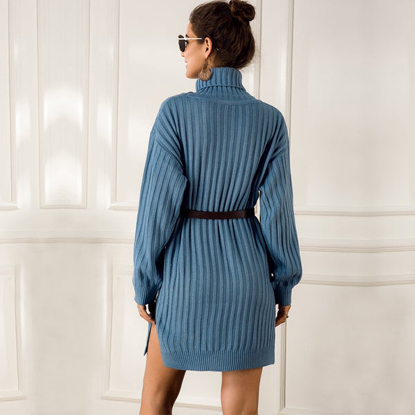Sweater Dresses Solid Long Sleeve Mini Casual Loose Turtleneck Knitted Winter Dress