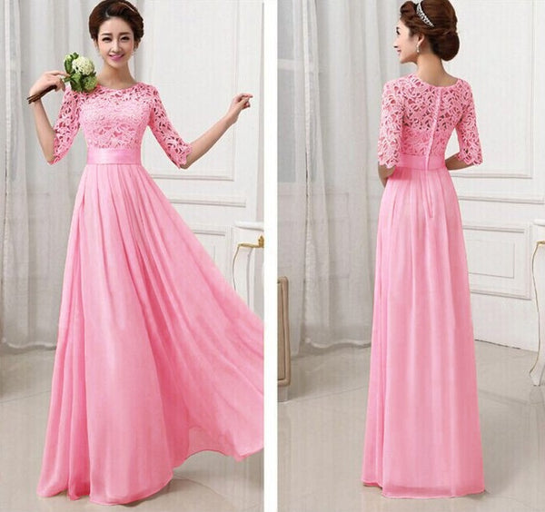 Long Chiffon Dress Elegant A Line O Neck Half Sleeve Wedding Party Gowns Lace Bridesmaid Dresses guest wedding party dress