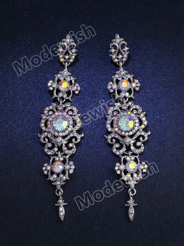 Long Crystal Drop Earrings for Women Big Dangle Earrings