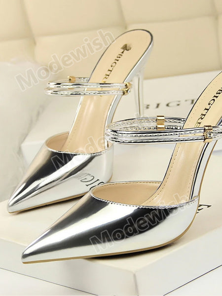 Metal Heel Stylish Female Summer Pointed Toe High Heel Sandals