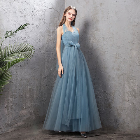 New Dusty Blue Bridesmaid Dresses Long Elegant Mismatched Formal Prom Dress For Farm Simple Gown Party Wedding Vestido Longo