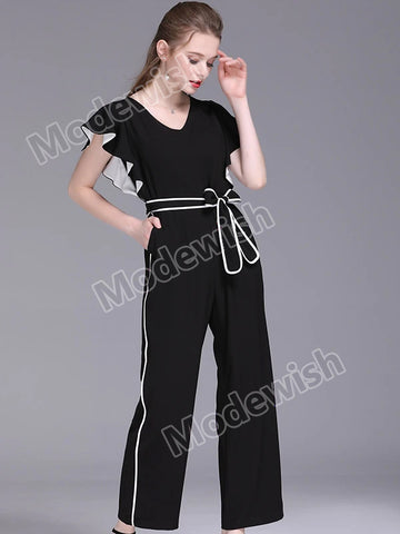 New Women's Contrast Colour Chiffon Wide Leg Short Sleeve Sashes Bow Tie Jumpsuits