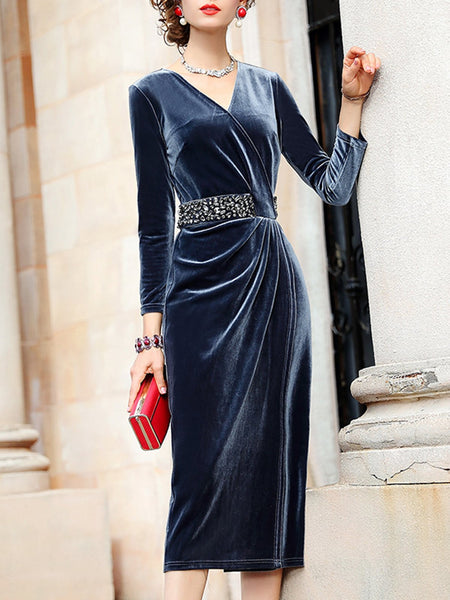 Embellished Draped V Neck Elegant Midi Dress
