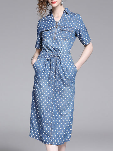 Blue Sheath Polka Dots Jeans Midi Dress