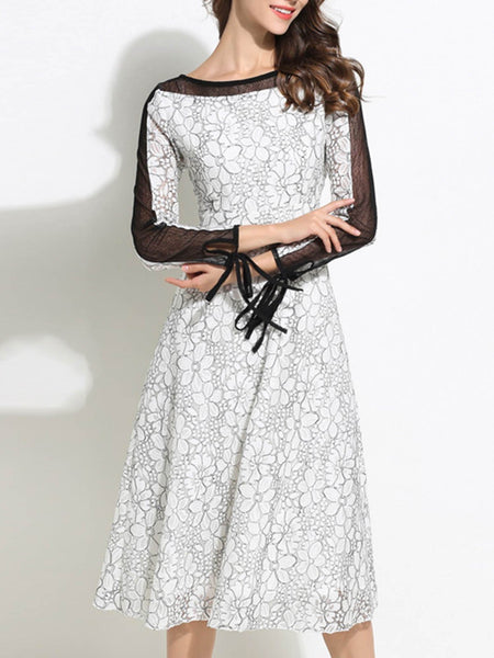 Guipure Lace See-Through Look Casual Midi Dress