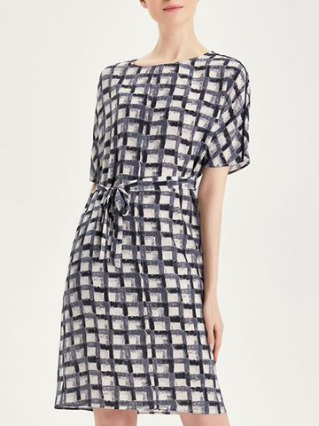 Black Summer A-Line Daily Paneled Checkered/plaid Midi Dress