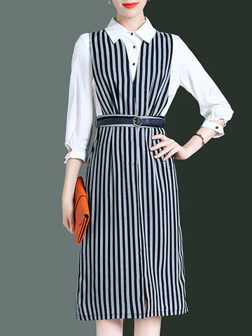 Striped 3/4 Sleeve Paneled Work Midi Dress