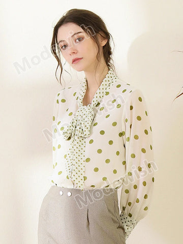 Office Lady Elegant Chiffon Green Polka Dot Ribbon Collar Tops Blouses Workwear White Shirt