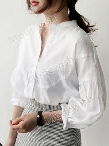 Puff Sleeves White Womens Casual Loose V Neck Shirts Ladies Office Solid Fashion Blouses