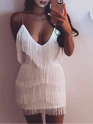 Retro Spaghetti Straps Fringe Decorated Mini Sexy Dress