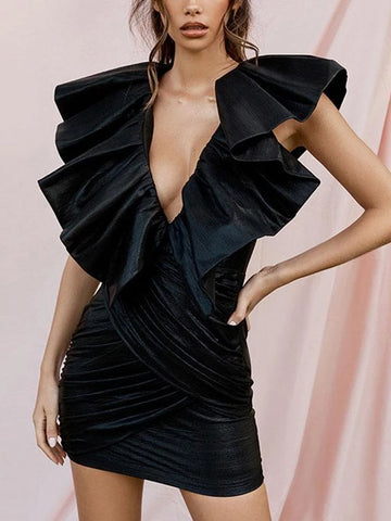 Sexy Black Sleeveless Ruffle Pleated Hip Slim Dress