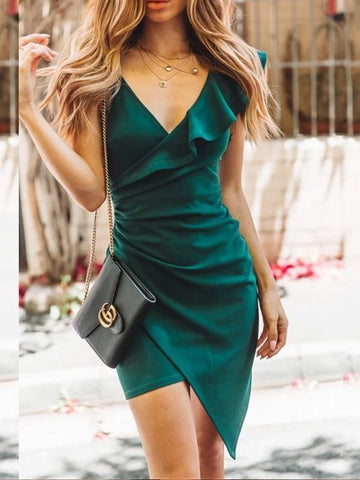 Sexy Deep V-Neck Single Shoulder Falbala Irregularity Tight Dress